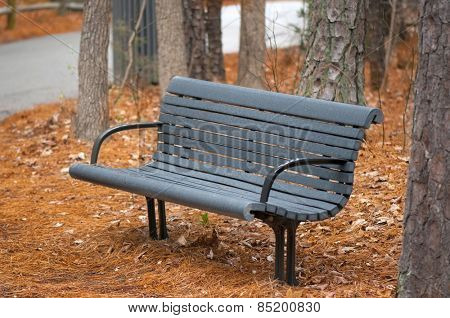 An empty park bench during autumn season