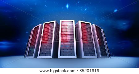 Server towers against stars twinkling in night sky