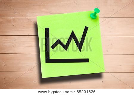 Graph against green adhesive note