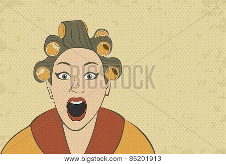 Brunette retro woman screaming. Vintage art.