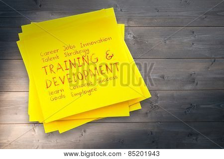 Business buzzwords against sticky note