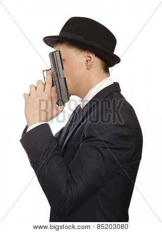 Despair man with gun, crime isolated against white background