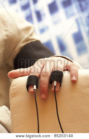 Placing equipment for interrogation of a man with lie detector