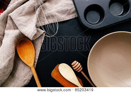 Cooking, cuisine. Kitchen utensil on the table