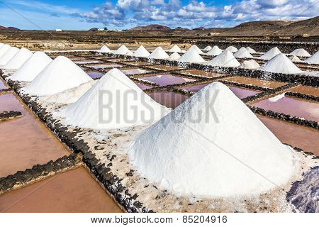 Salt Piles In The Saline Of Janubio In Lanzarote