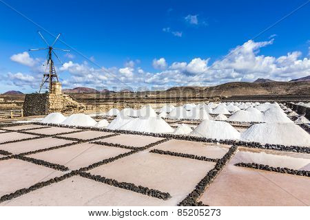 Salt Piles In The Saline Of Janubio In Lanzarote With Old Toteen Wind Mill