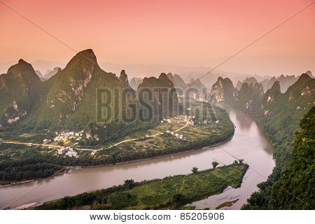 Xingping, China at the Li River and karst mountains landscape.