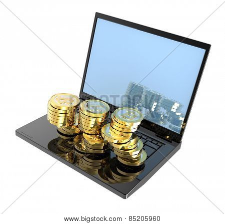 Laptop with bitcoins isolated over white. Computer generated 3D photo rendering.