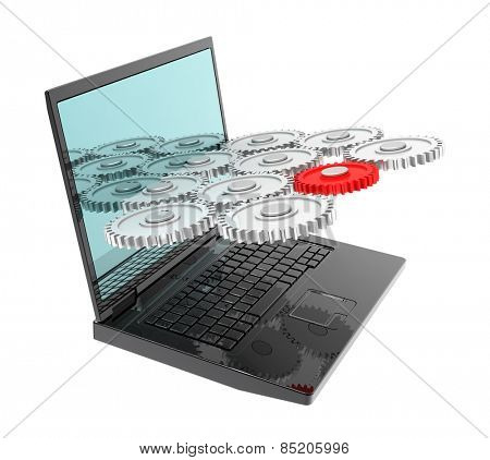 Laptop with gears isolated over white. Computer generated 3D photo rendering.
