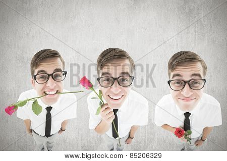 Nerd with rose against white and grey background