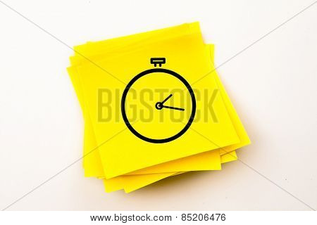Stopwatch against sticky note