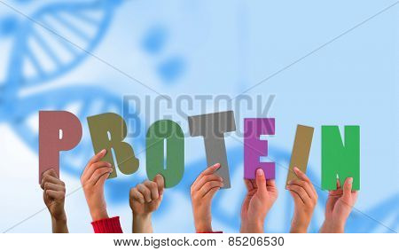 Hands holding up protein against medical background with blue dna helix