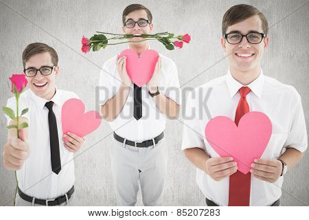 Romantic nerd against white and grey background