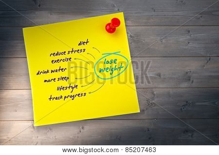Diet plan against yellow pinned adhesive note
