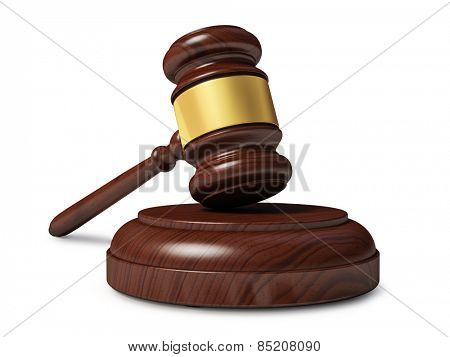 Wooden judge gavel isolated on white background
