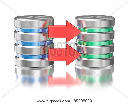 Creative database backup copy concept - metal hard disk drive database icons with arrow isolated on white