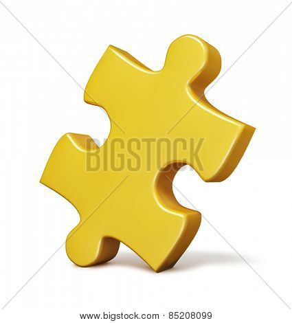 Single yellow puzzle piece isolated on white background