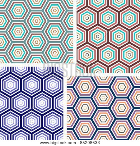 Seamless geometric pattern. Hexagons color texture. Vector art.
