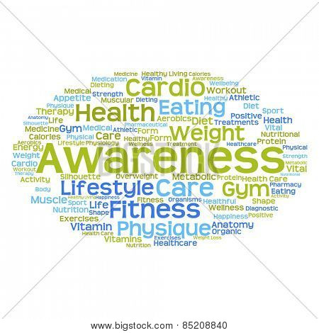 Concept or conceptual abstract word cloud with a hand on touch screen on white background for health, nutrition, diet, wellness, body, energy, medical, fitness, medical, gym, medicine, sport or heart