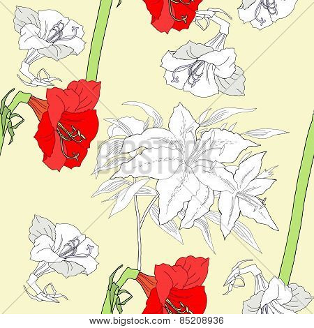 Seamless pattern  with amaryllis and flowers-02