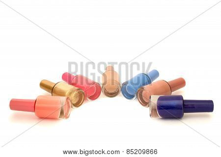 Colored Nail Polish On A White Background Isolated Over White