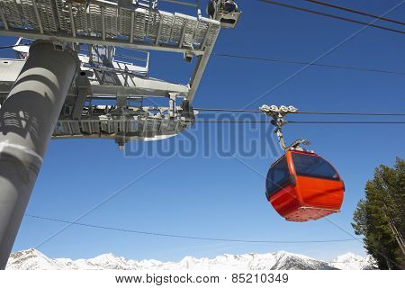 Cable car at a ski resort in Andorra.