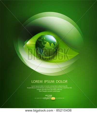 vector abstract background for ecological design with a leaf, a drop and globe
