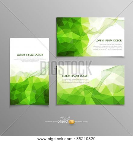 vector green abstract business card templates