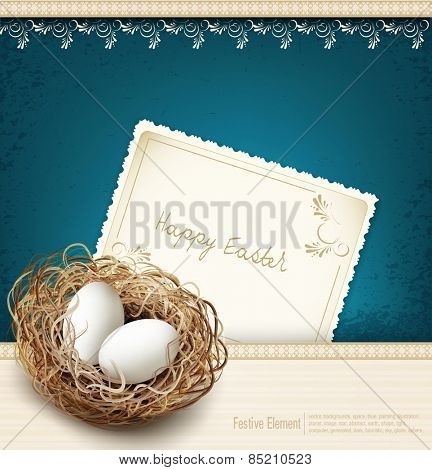 vector Easter, vintage background with a nest and eggs