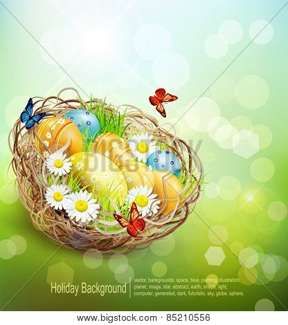 vector background with Easter nest and eggs on spring background with bokeh