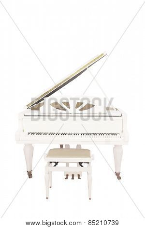The image of a white grand piano under the white background