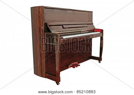 The image of a grand piano under the white background