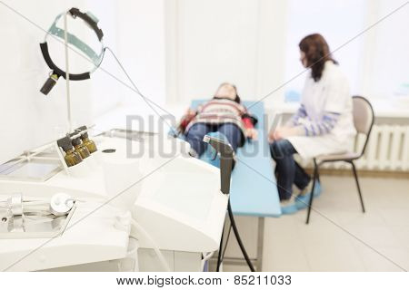 Patient on the examination by a doctor