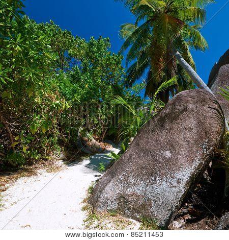 Beautiful beach path at Seychelles, La Digue, Anse Source d'Argent