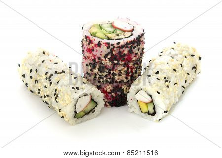 Round Rolls With Cucumber And Crab Vertically Isolated Overwhite