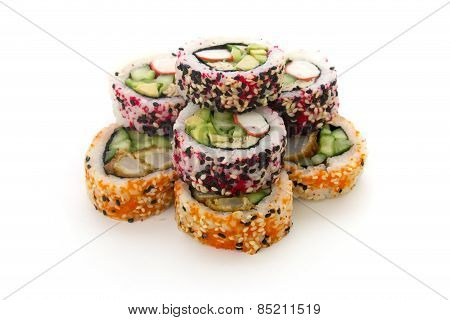 Round Rolls With Cucumber And Crab Isolated Over white