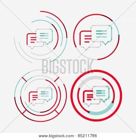Thin line neat design logo set, clean modern concept, messages idea