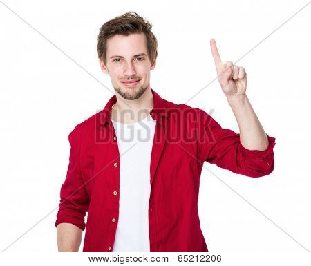 Excited man pointing a great idea