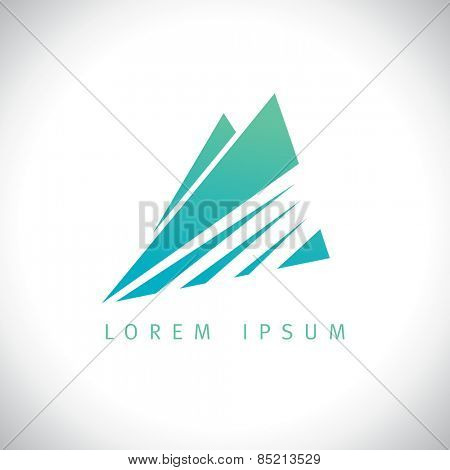 Azure mountains in sunshine logo concept.
