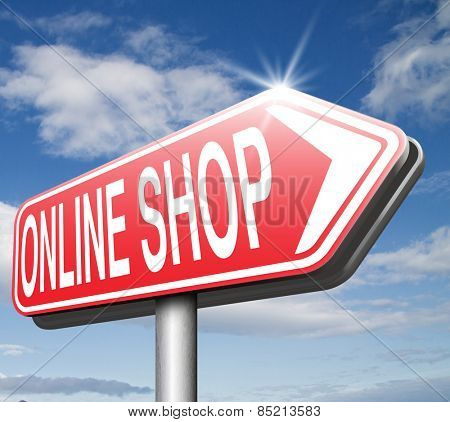 online internet web shop road sign webshop icon