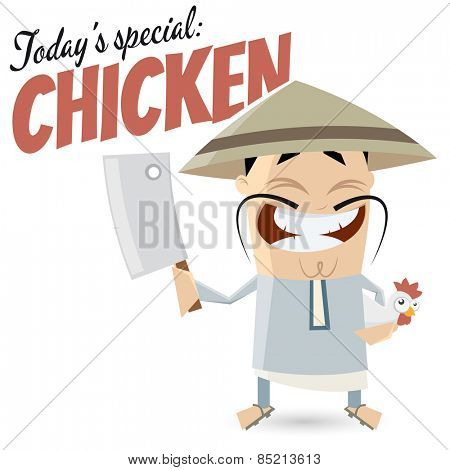funny cartoon Chinese with chicken