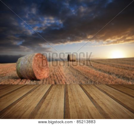 Beautiful Golden Hour Hay Bales Sunset Landscape With Wooden Planks Floor