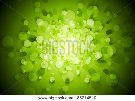 Green technical abstract background with circles. Vector design
