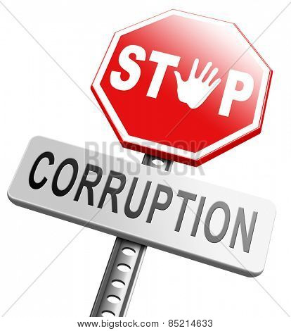 corruption paying bribery political government or police stop corrupt politicians