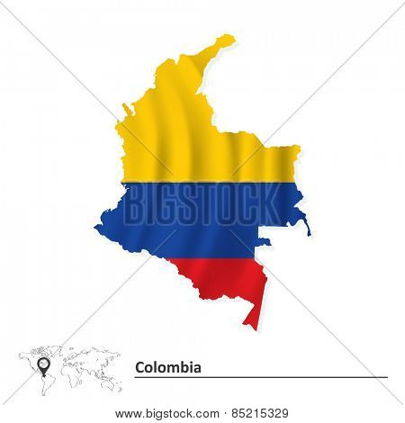 Map of Colombia with flag - vector illustration