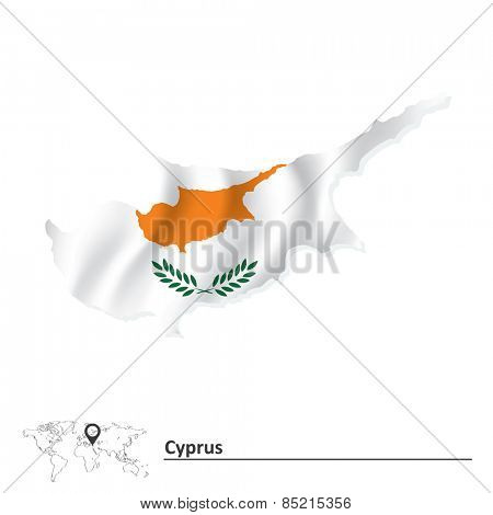 Map of Cyprus with flag - vector illustration