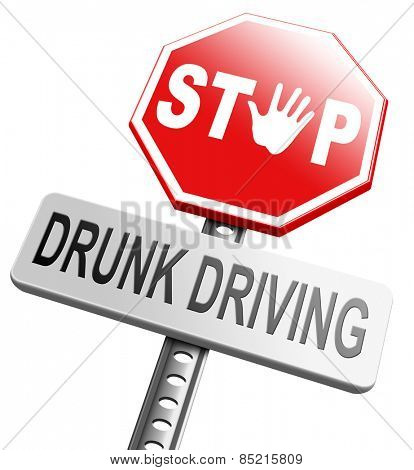 drunk driving, don't drink and drive with an alcohol intoxication. Prevention to stop irresponsible driver.