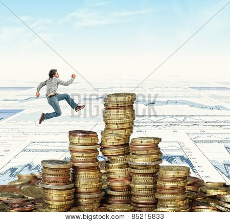 jumping man and golden coin background