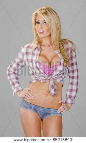 A beautiful blonde posing in a country girl outfit