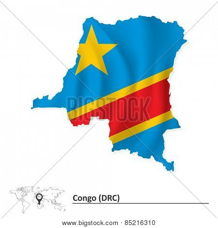 Map of Democratic Republic of the Congo with flag - vector illustration